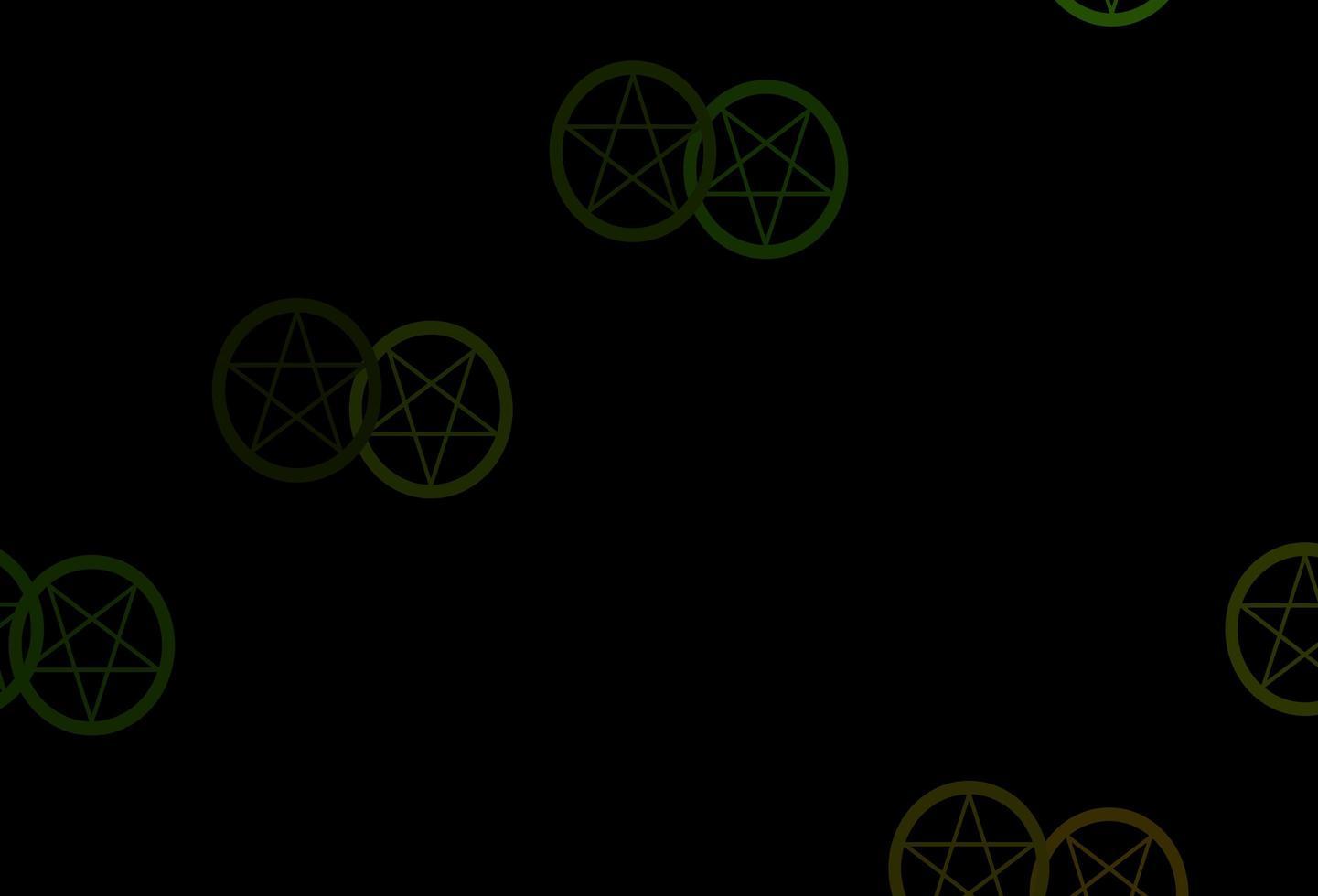 dunkelgrüner Vektorhintergrund mit okkulten Symbolen. vektor