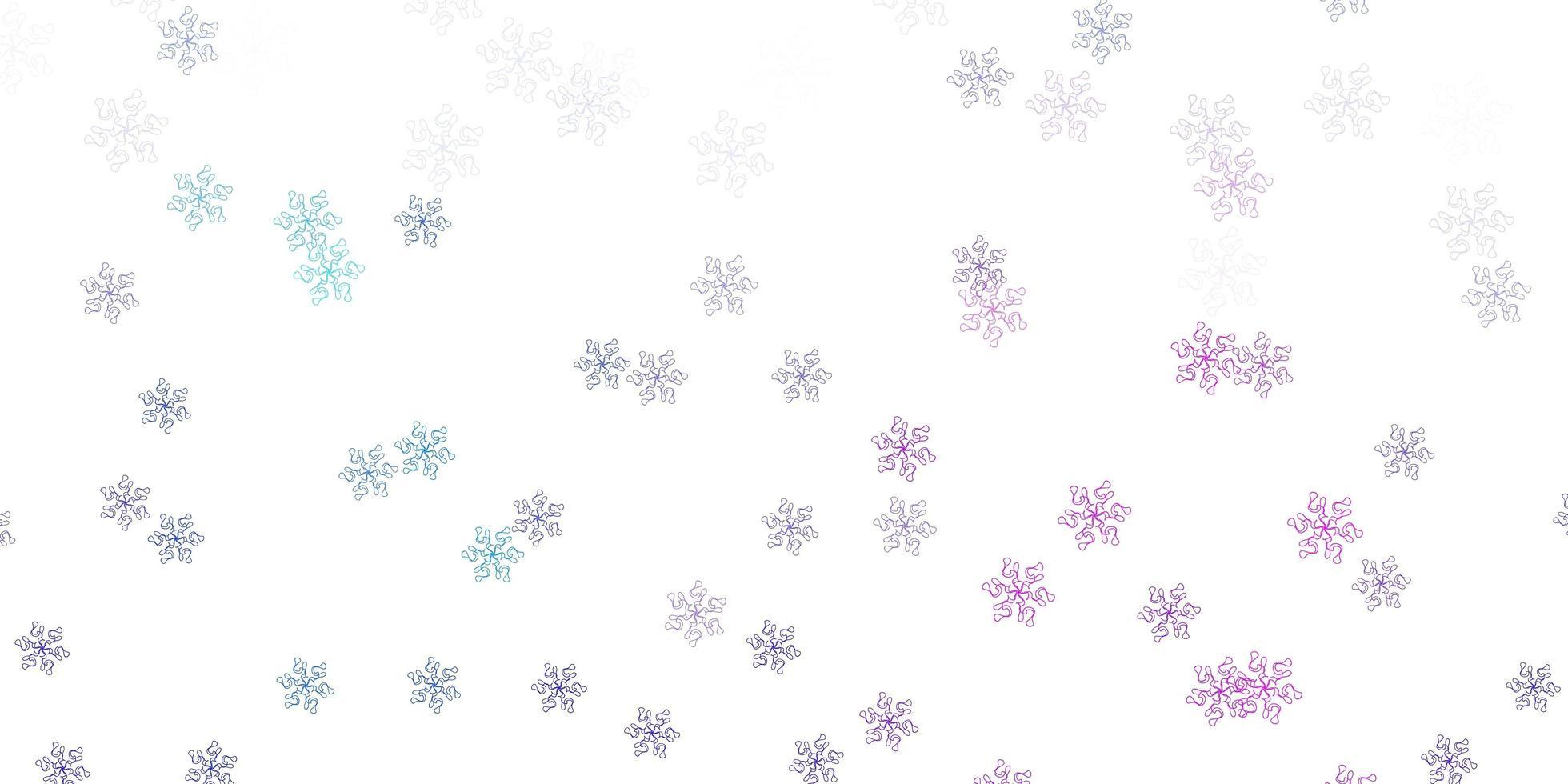 ljusrosa, blå vektor doodle mall med blommor.