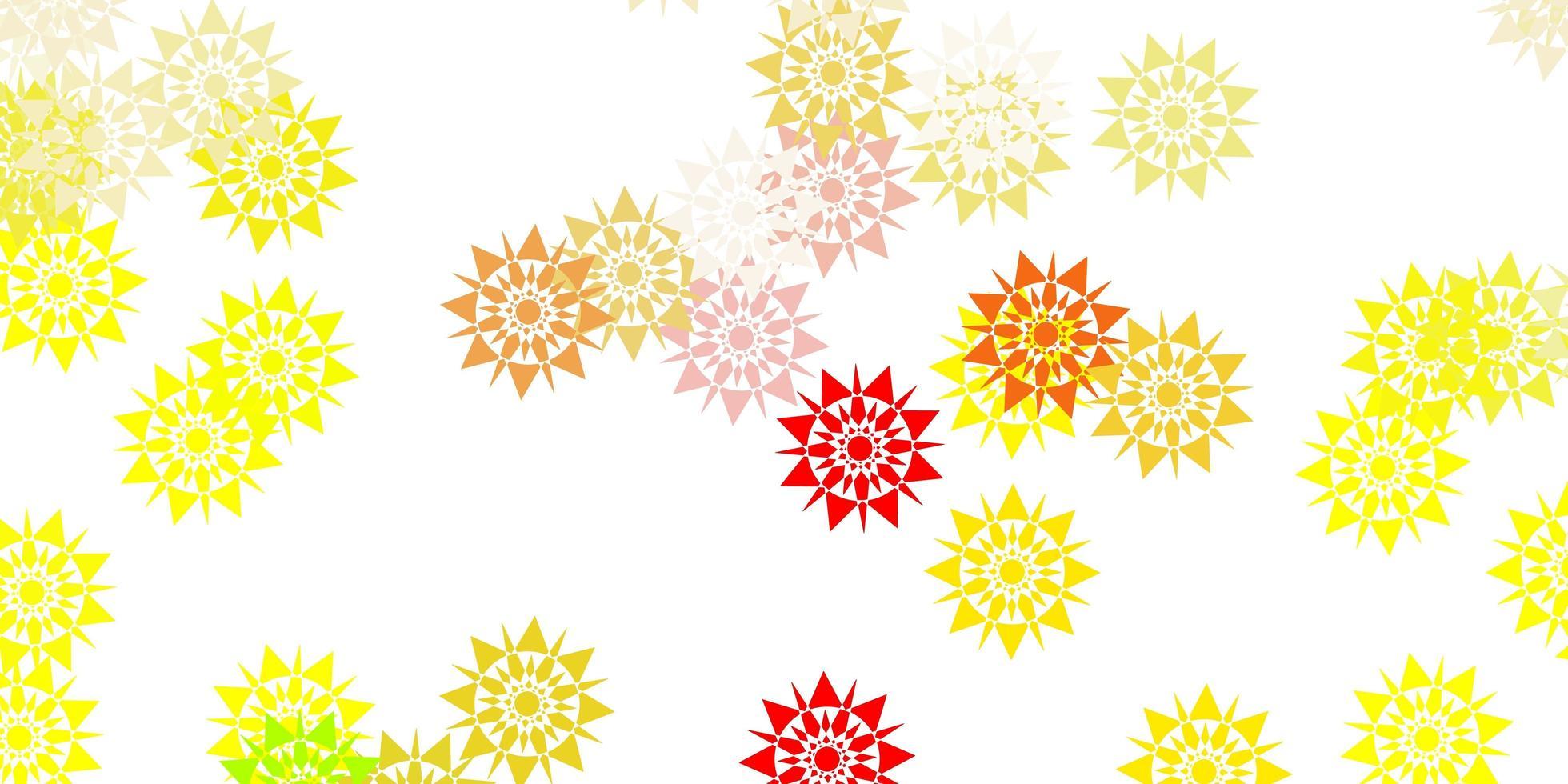 hellroter, gelber Vektorhintergrund mit Weihnachtsschneeflocken. vektor
