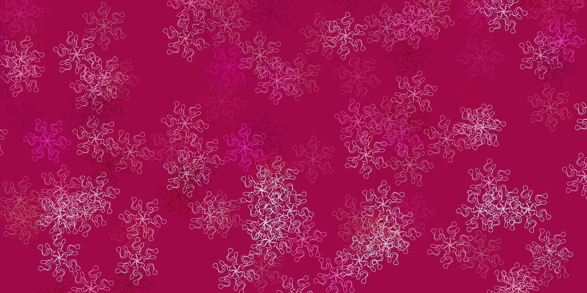 ljusrosa vektor doodle bakgrund med blommor.