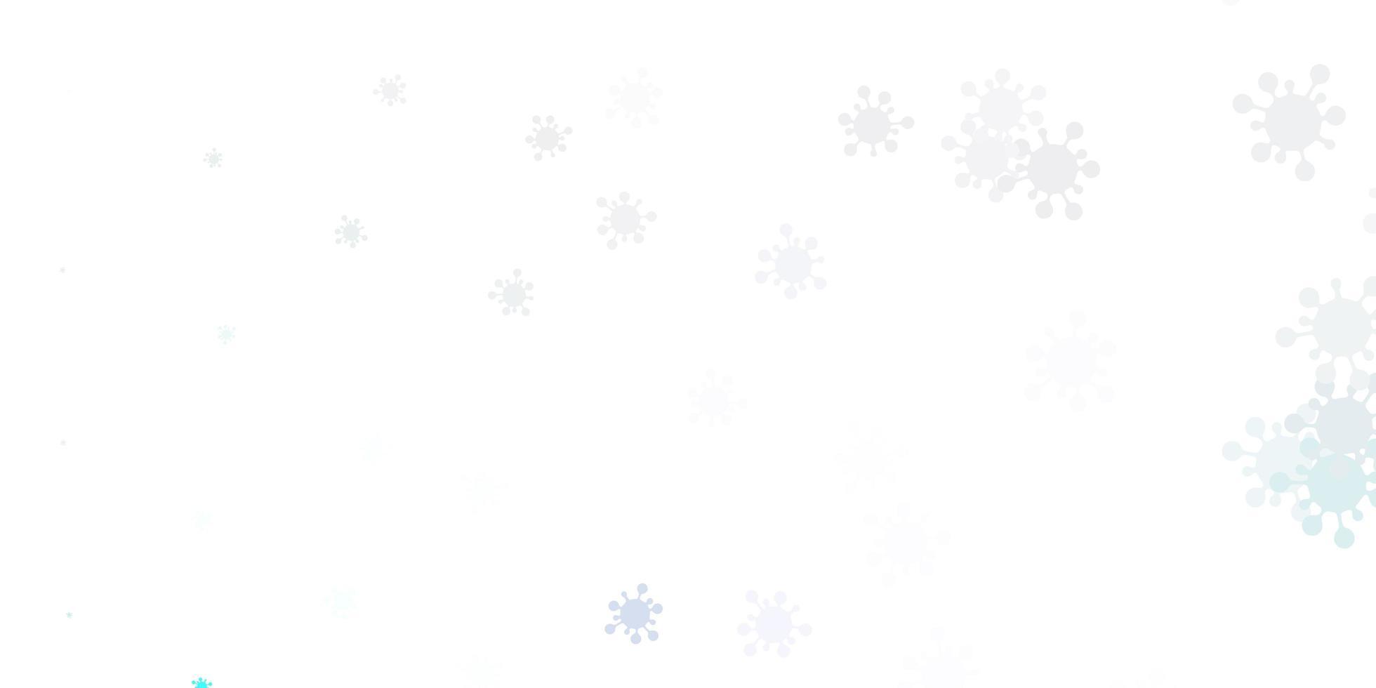 hellrosa, blauer Vektorhintergrund mit covid-19 Symbolen vektor