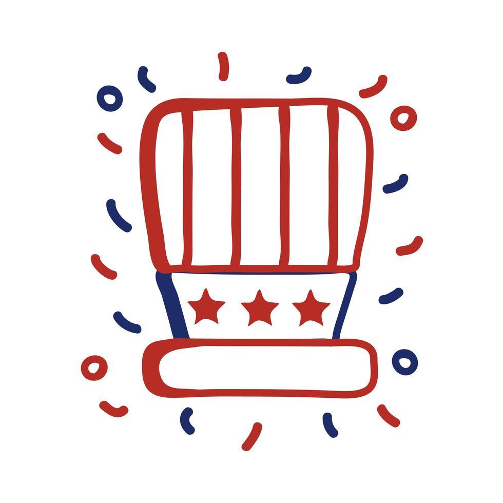 USA Hut mit Flaggenlinie Stil Vektor-Illustration Design vektor