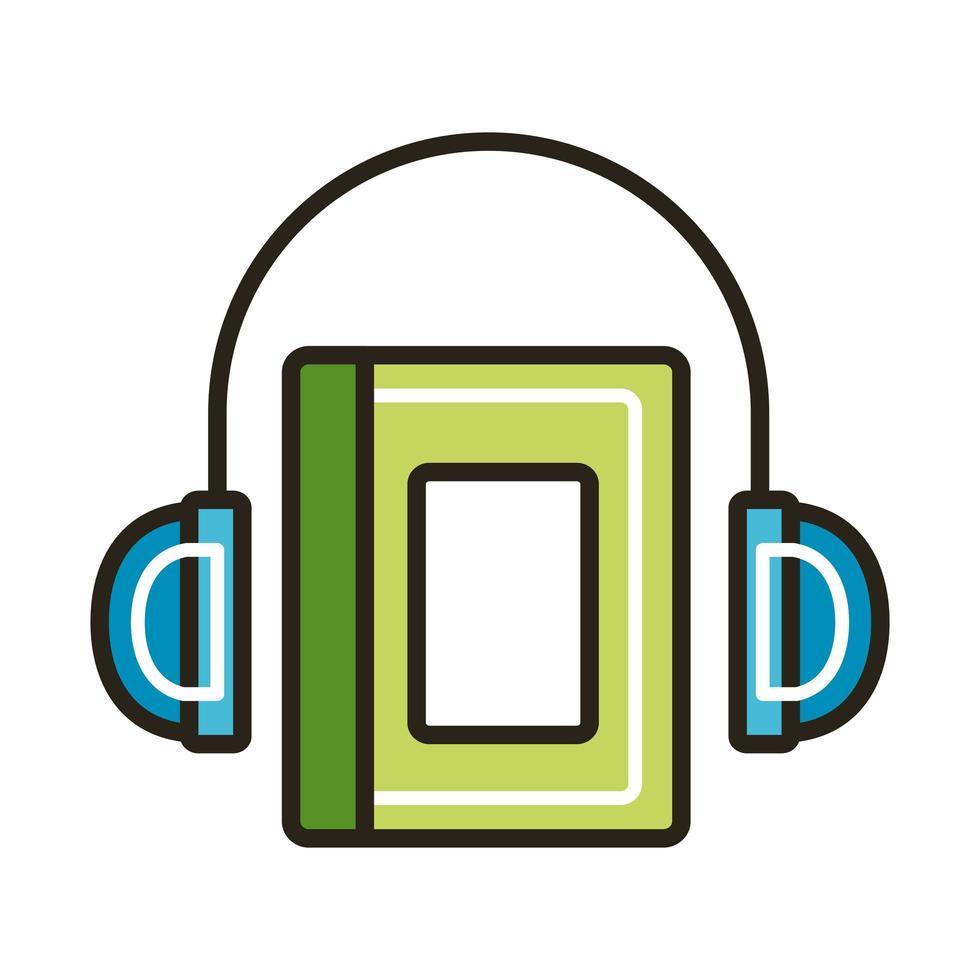elektronisk bok med hörlurar vektor