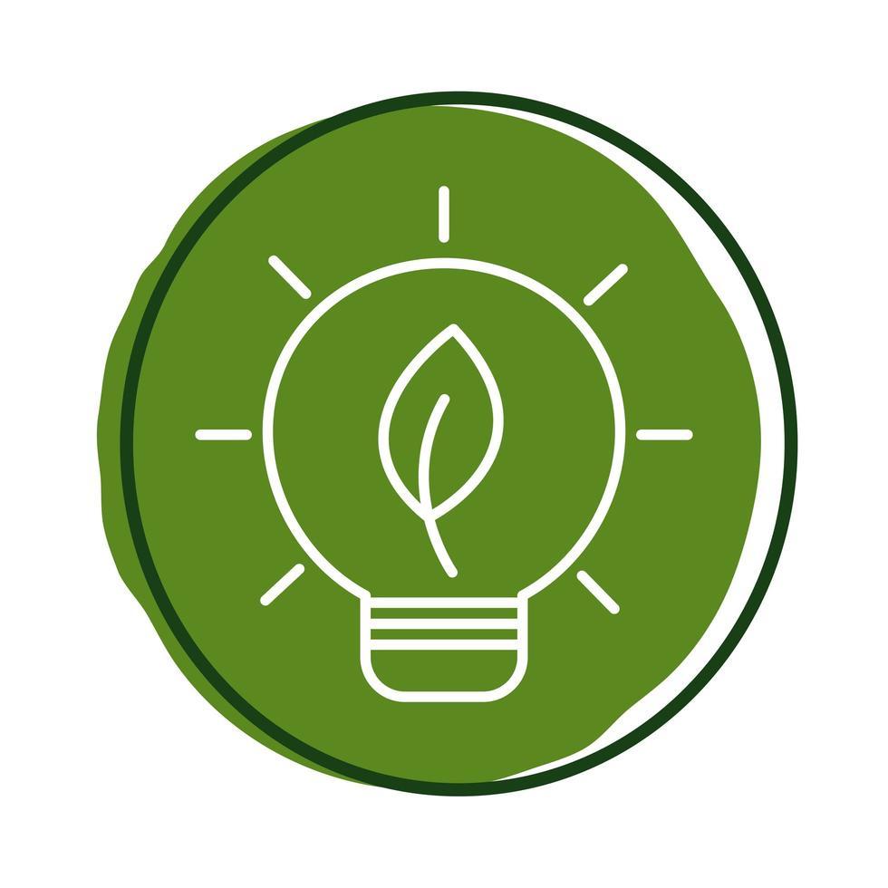 glödlampa med bladväxtblockstil vektor