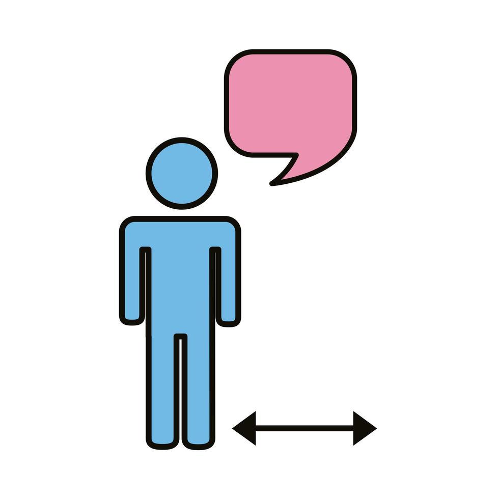 menschliche Figur mit Pfeilen für soziale Distanz vektor