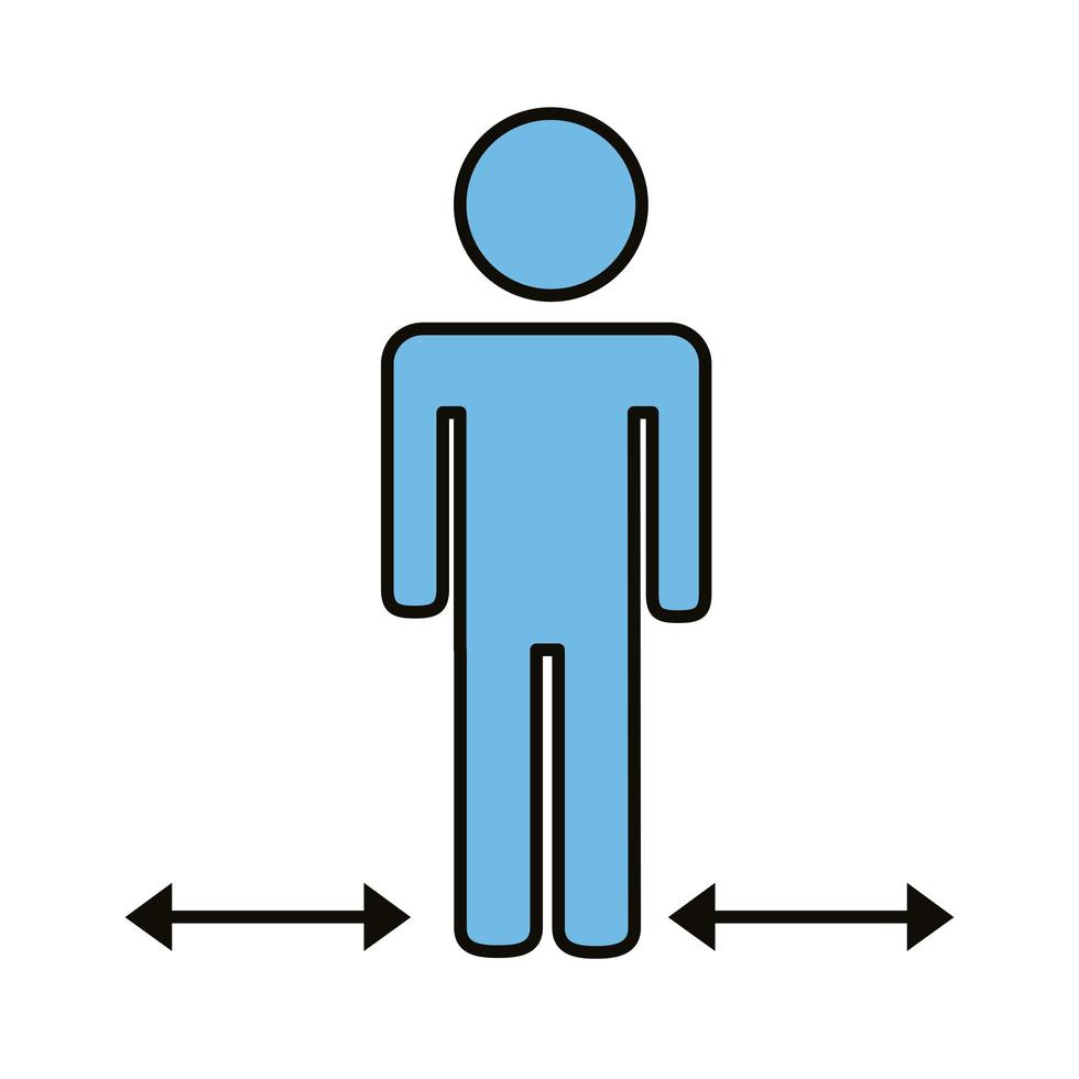 mänsklig figur med pilar för socialt avstånd vektor