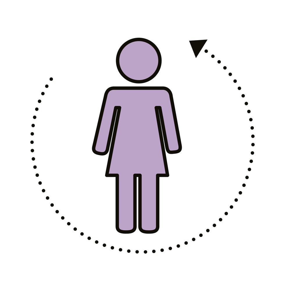 kvinnlig mänsklig figur med linjer för socialt avstånd vektor