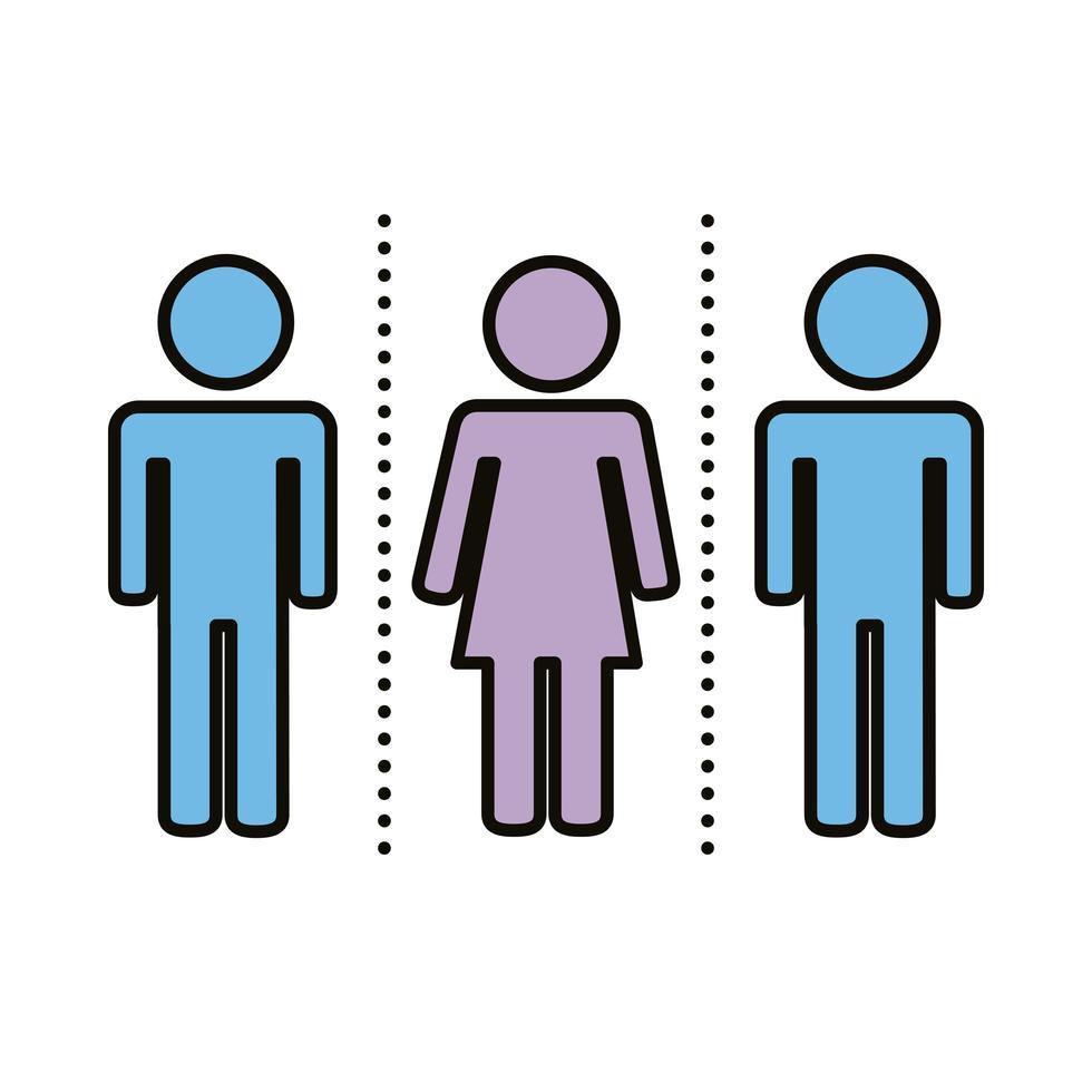 grupp människor med socialt avstånd vektor