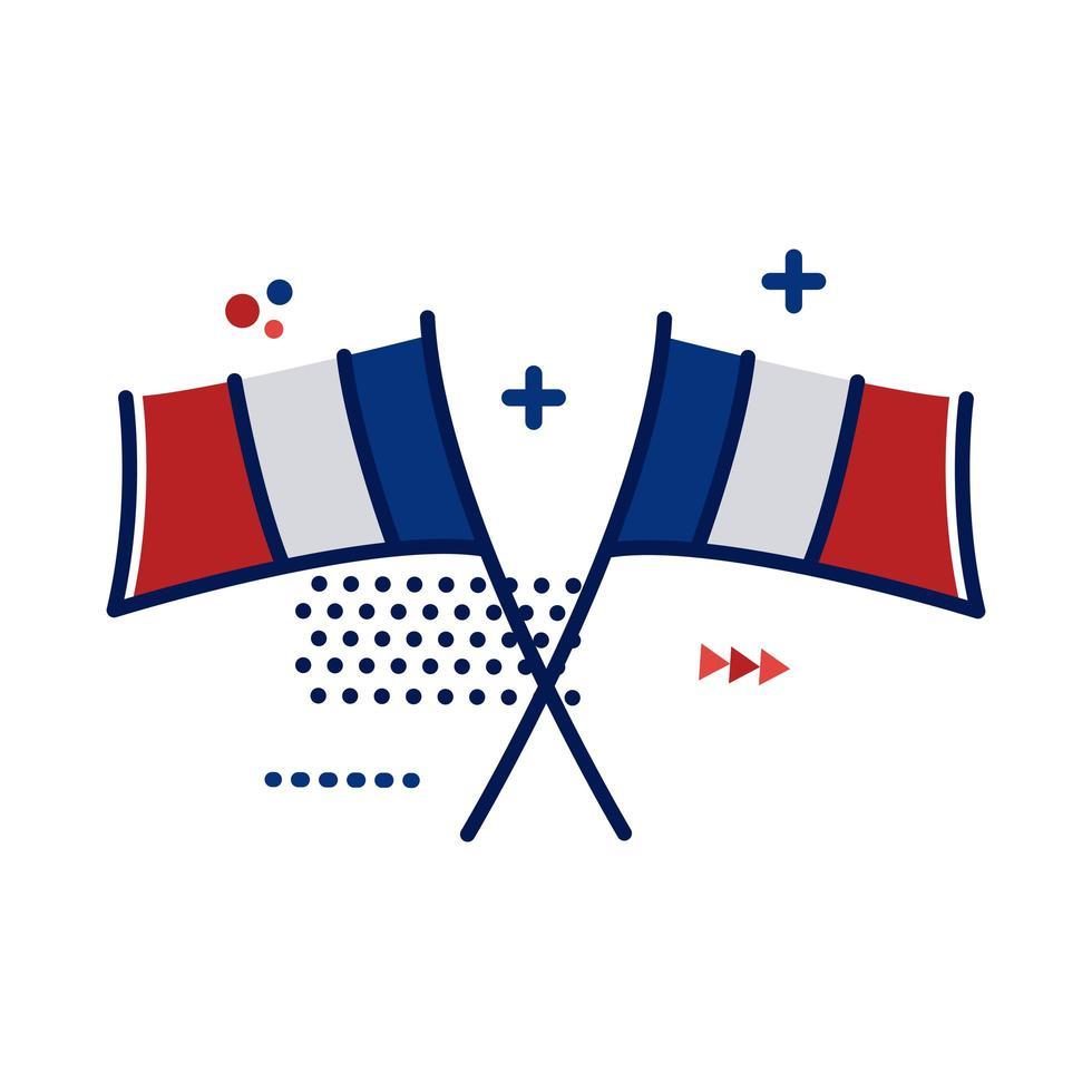 Frankrike flaggor platt stilikon vektor