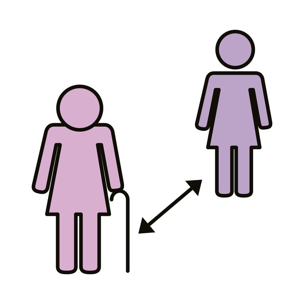 gamla par med socialt avstånd vektor