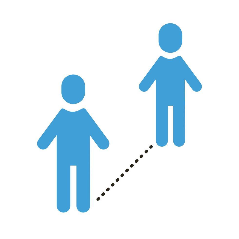 mänskliga silhuetter med socialt avstånd vektor