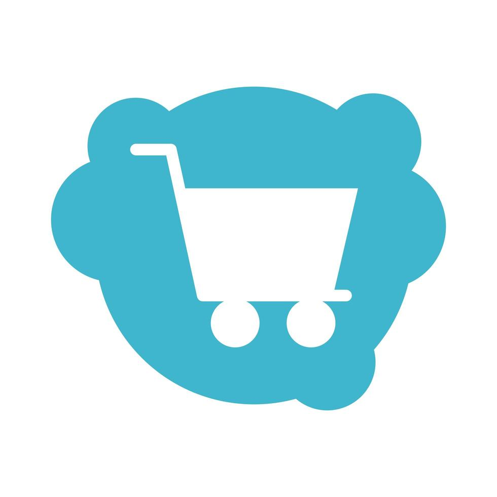 shopping cart kommersiella block stil ikon vektor