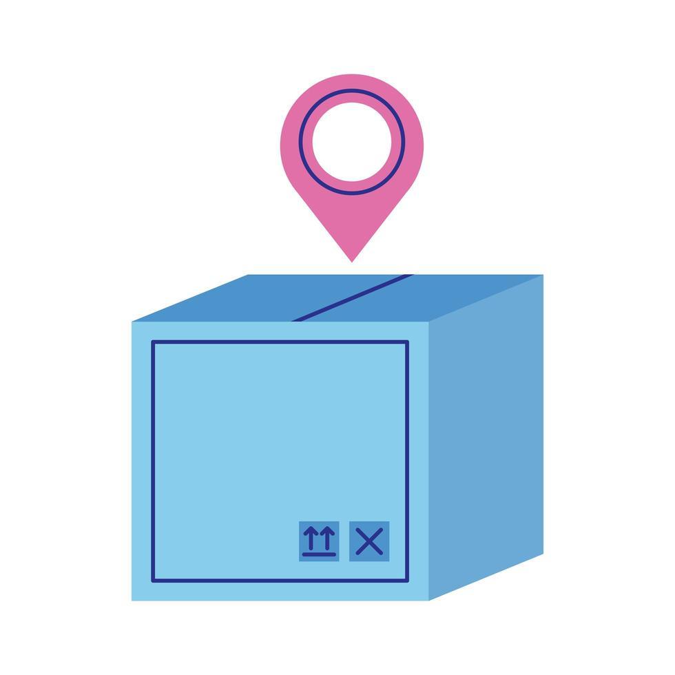 låda kartong med stift plats leverans service platt stil vektor