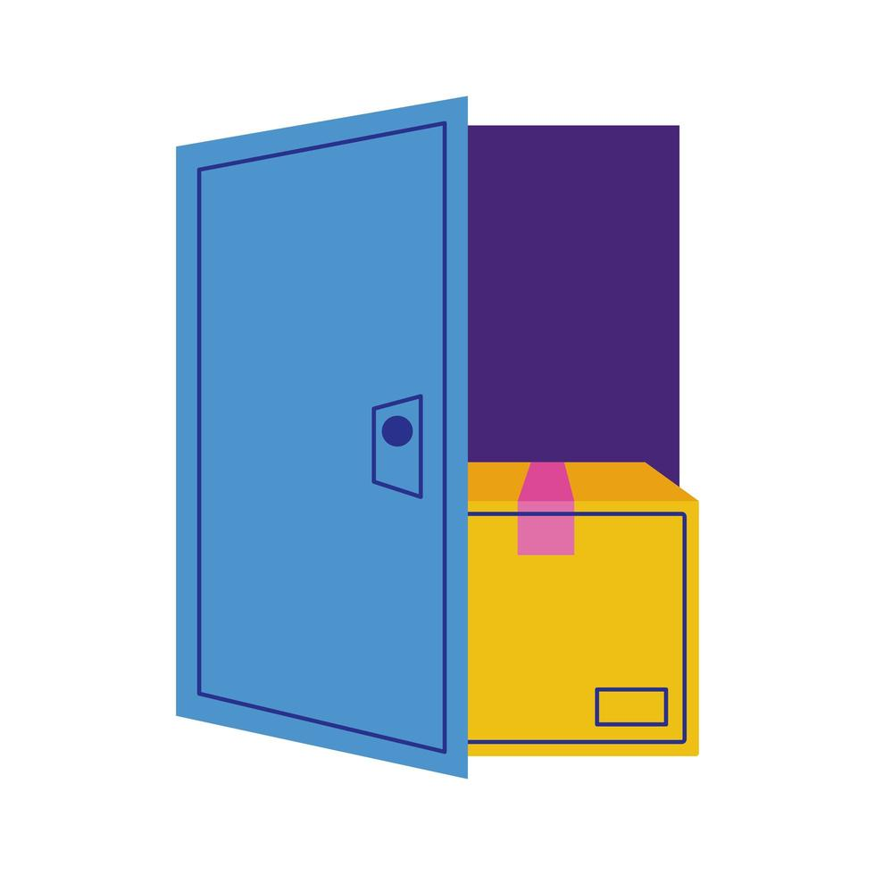 Karton im offenen Lieferservice mit offener Tür vektor