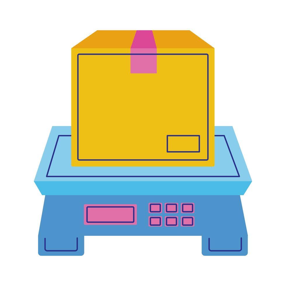 Karton im digitalen Balance-Lieferservice im flachen Stil vektor