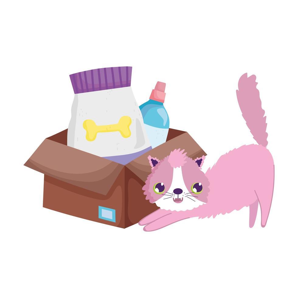 katt med matpaket och veterinärflaska tecknade husdjur vektor