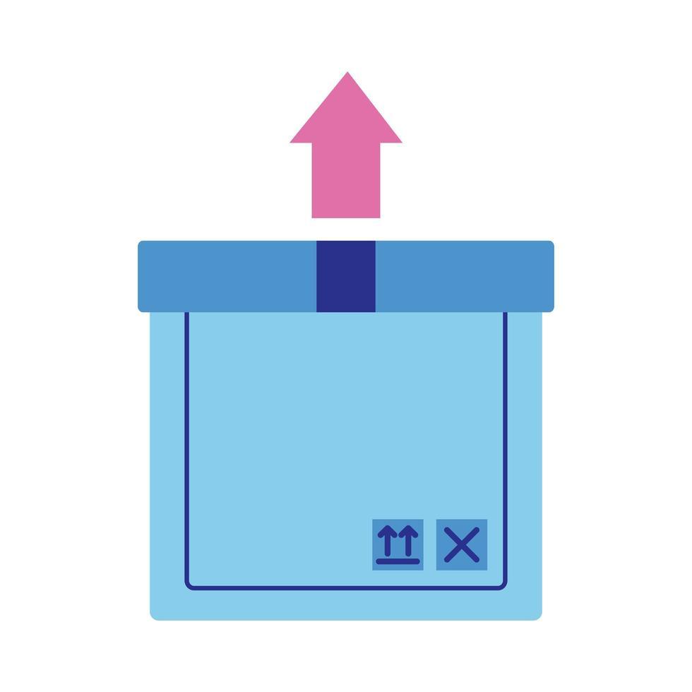 Karton mit Pfeil nach oben Lieferservice im flachen Stil vektor