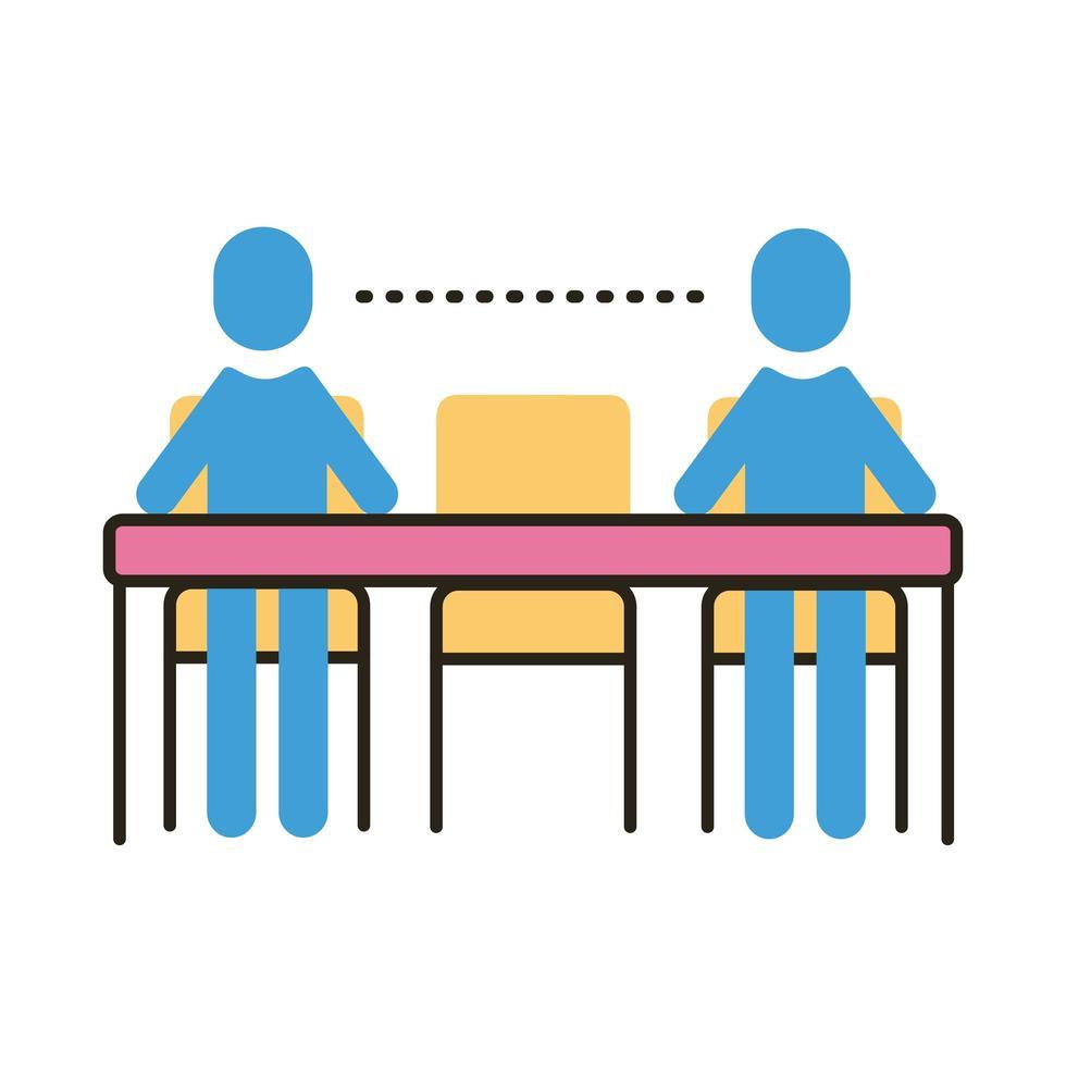 människor med socialt avstånd vid middagsbordet platt stilikon vektor