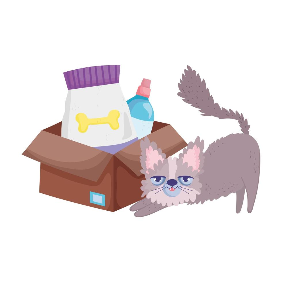 rufsig katt med matpaket och veterinärflaskdjur vektor
