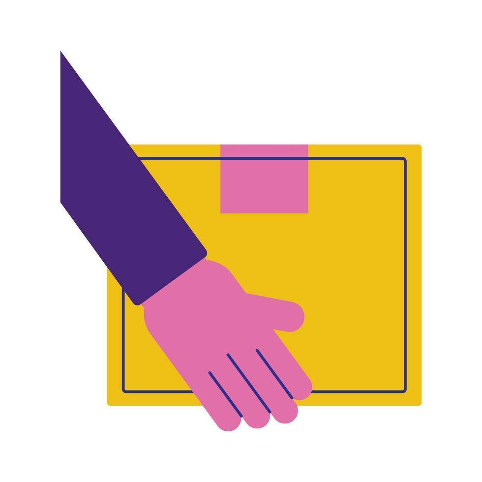 hand lyft låda kartong leverans service platt stil vektor