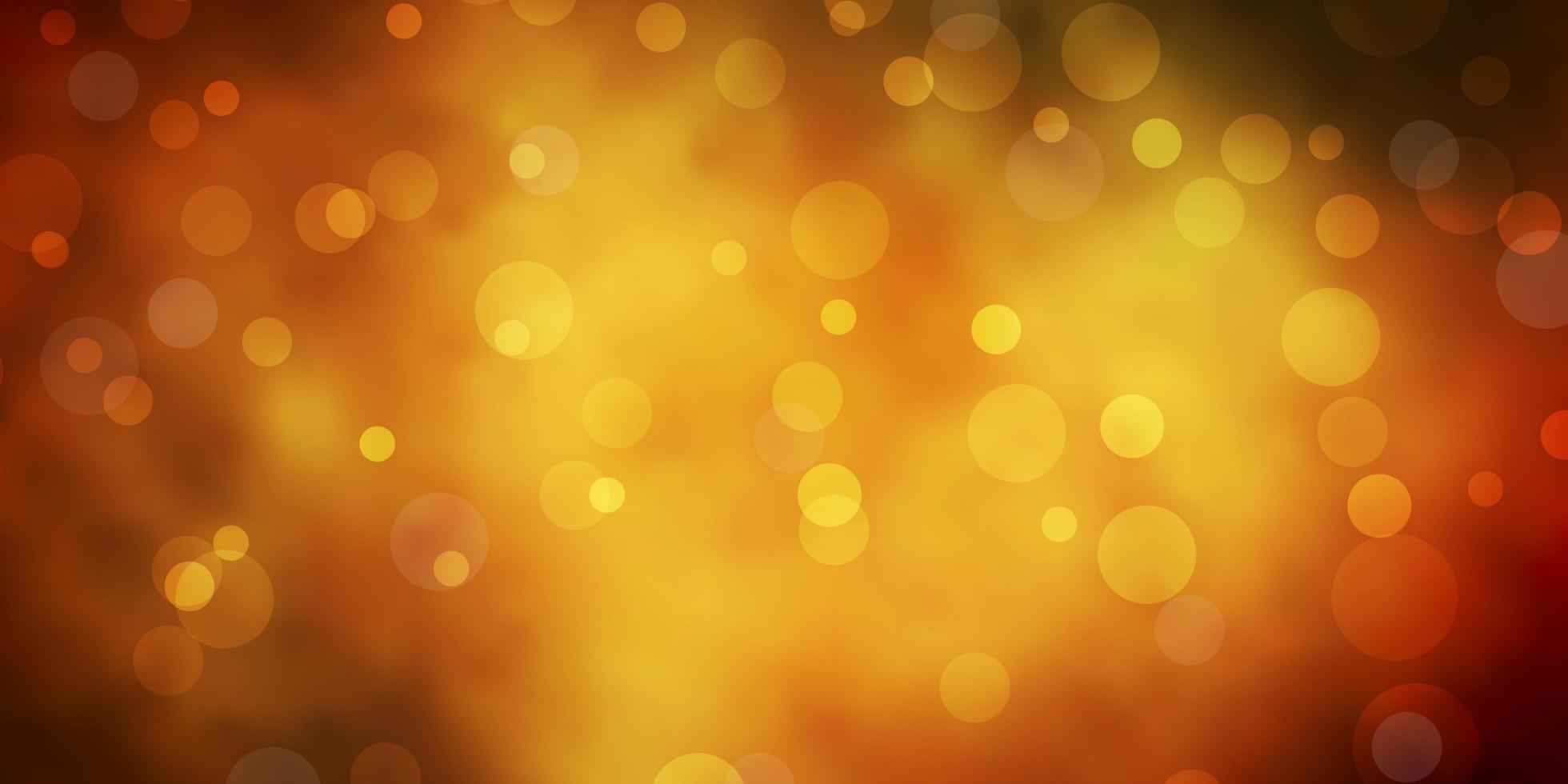 dunkelgrünes, gelbes Vektorlayout mit Kreisen. vektor