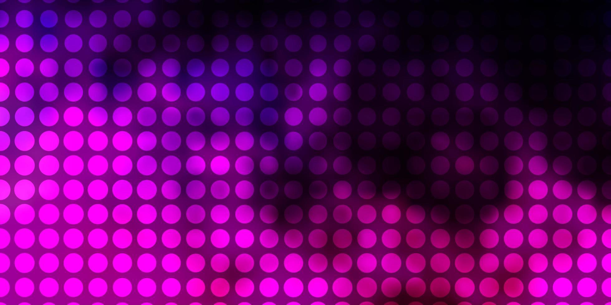 dunkelviolette, rosa Vektorschablone mit Kreisen. vektor