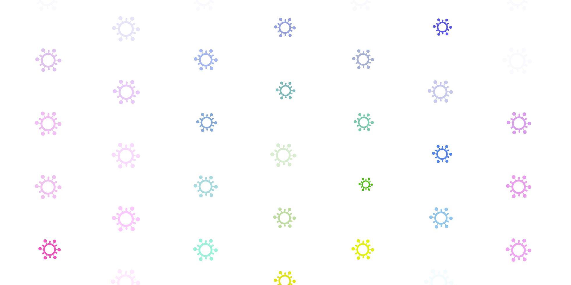 heller mehrfarbiger Vektorhintergrund mit covid-19 Symbolen vektor