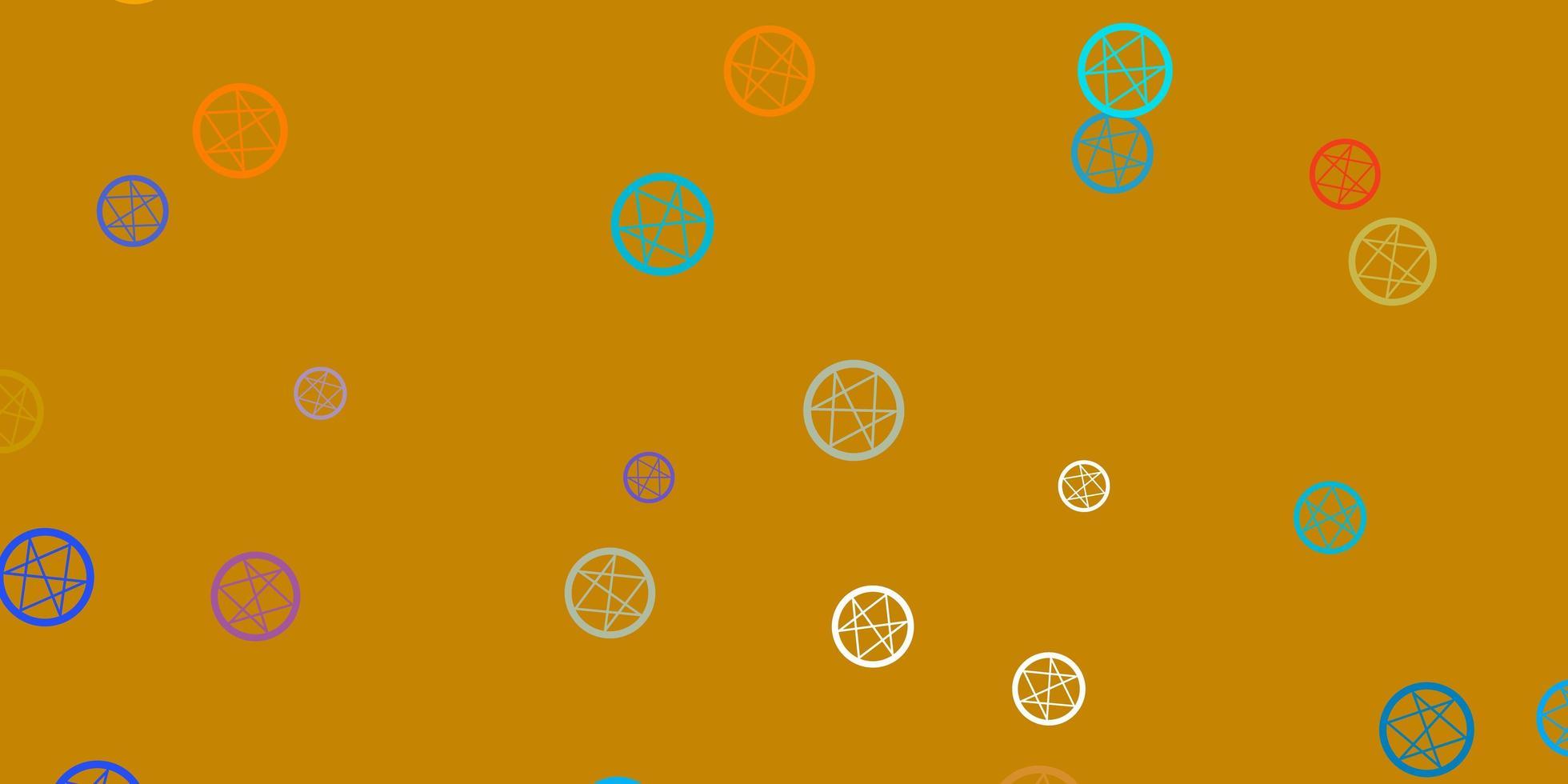hellblaue, gelbe Vektorbeschaffenheit mit Religionssymbolen. vektor