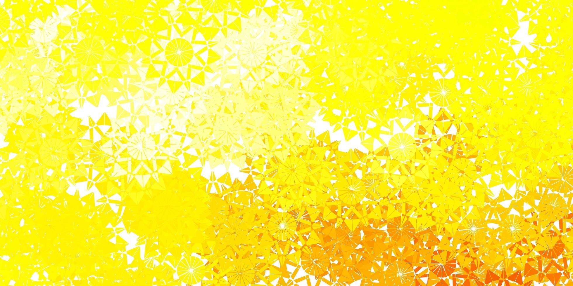 hellgelbes Vektormuster mit farbigen Schneeflocken. vektor