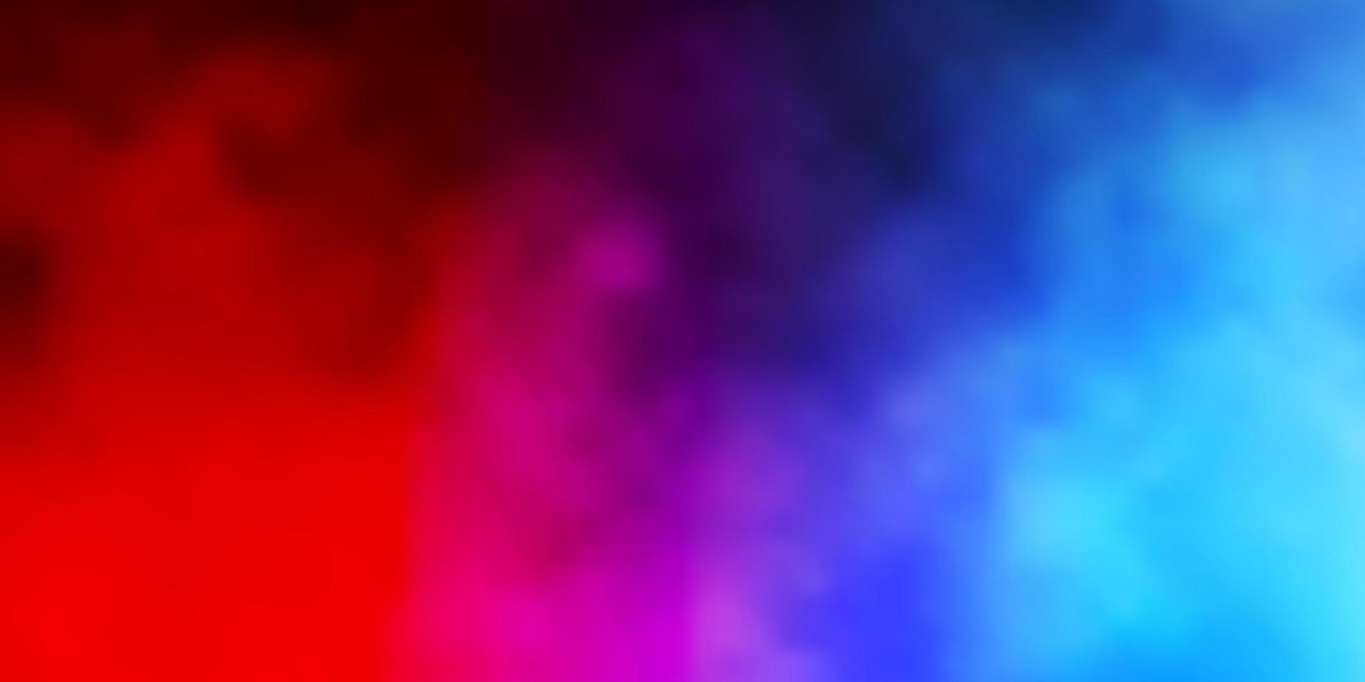 ljusblått, rött vektormönster med moln. vektor