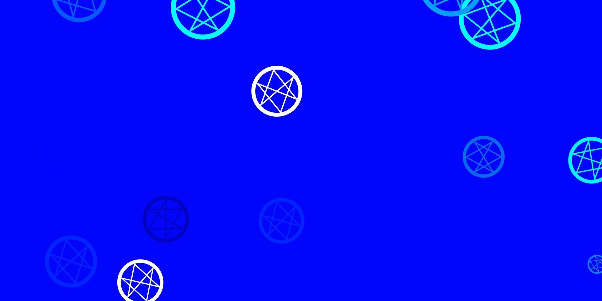 hellblauer Vektorhintergrund mit okkulten Symbolen. vektor