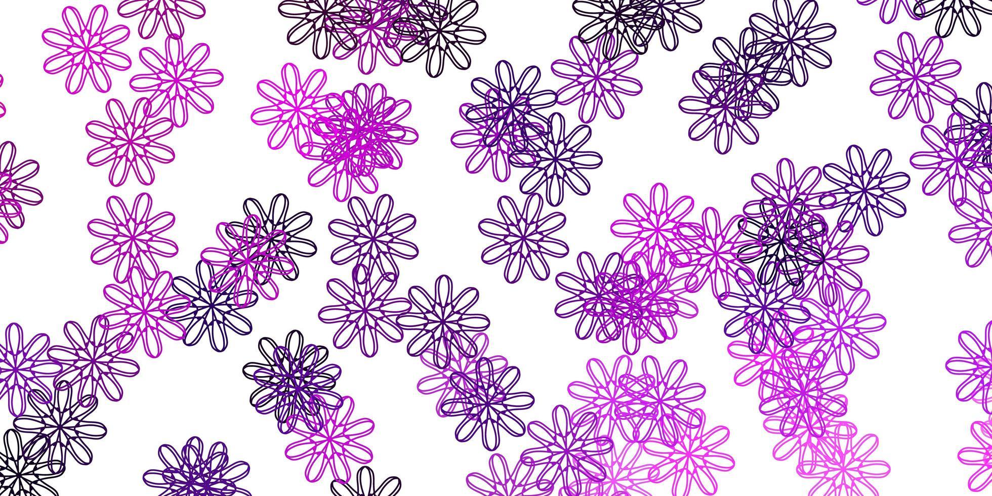 ljuslila, rosa vektor doodle textur med blommor.