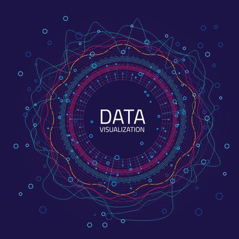 Data grafisk visualisering. Stor dataanalys visualisering med linjer, prickar och pilelement vektor