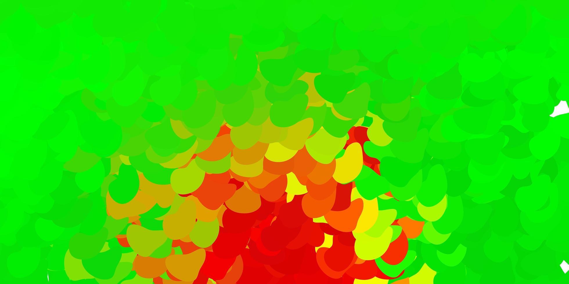 hellgrüner, roter Vektorhintergrund mit zufälligen Formen. vektor