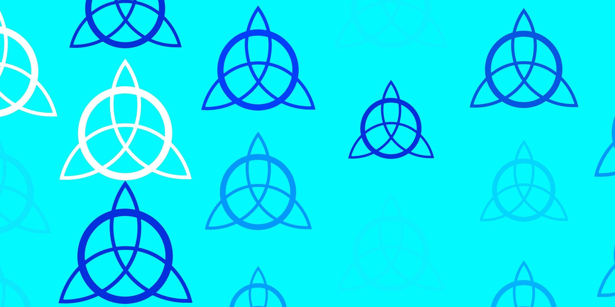 hellblaue Vektorschablone mit esoterischen Zeichen. vektor