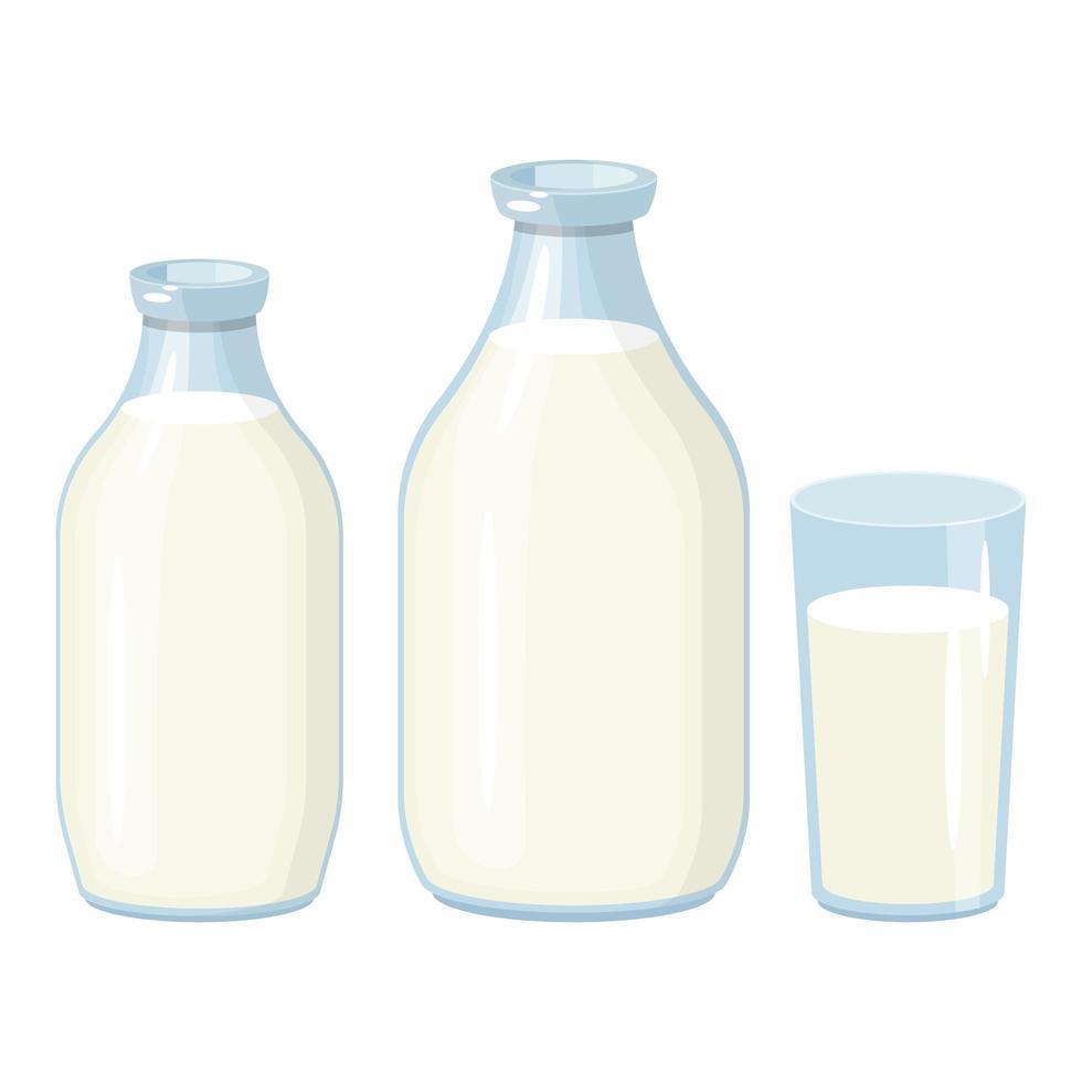 Milchflaschenvektorentwurfsillustration lokalisiert auf weißem Hintergrund vektor
