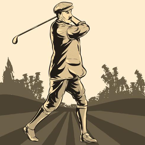 Golfspelare I Action Illustration vektor