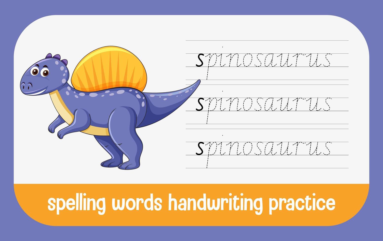 stavning ord dinosaurie handskrift övning kalkylblad vektor