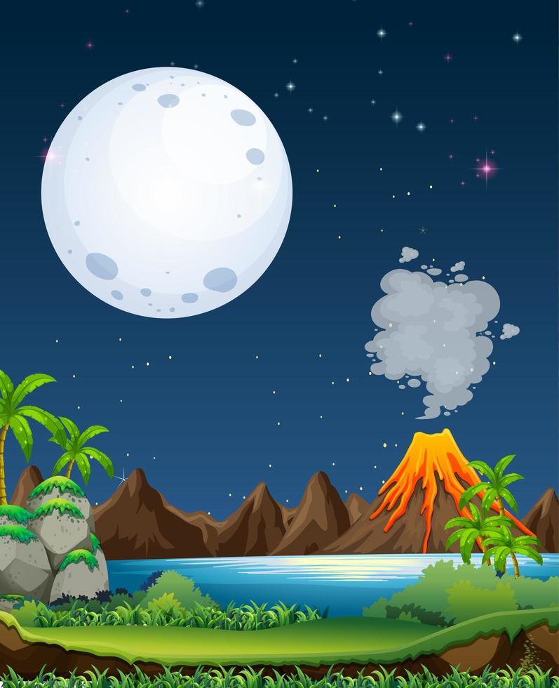 vulkanutbrott utomhus scen bakgrund vektor