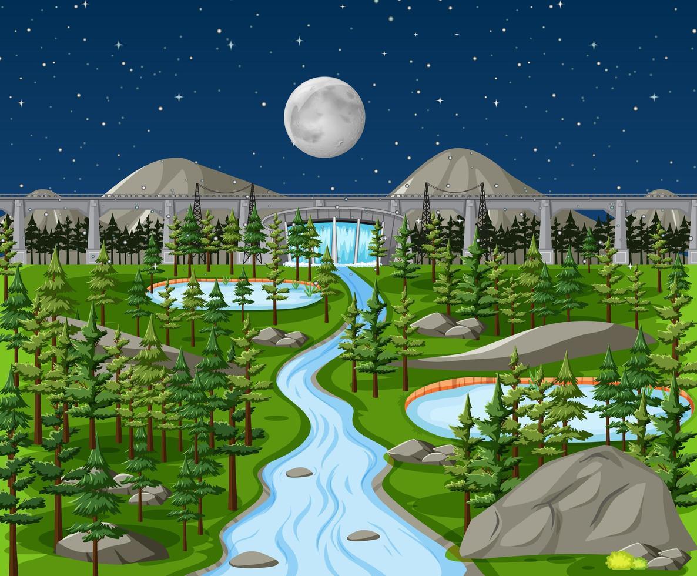 fördämning i naturlandskap på nattscenen vektor