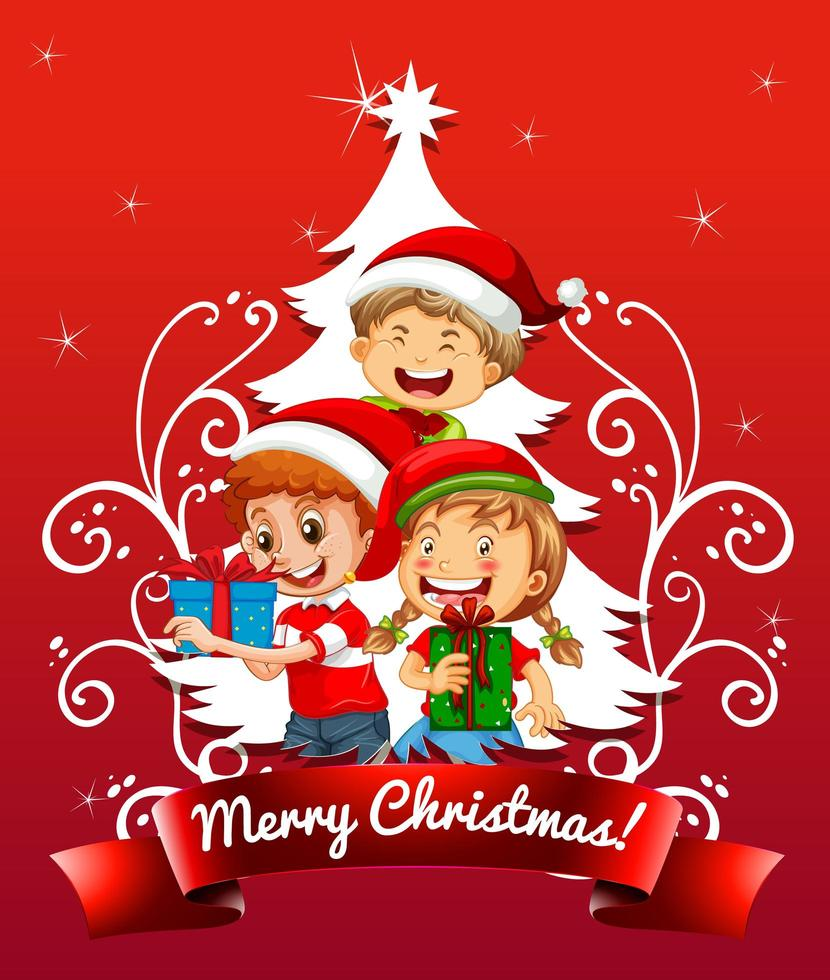 god julstilsort med barn som bär juldräkt på röd bakgrund vektor