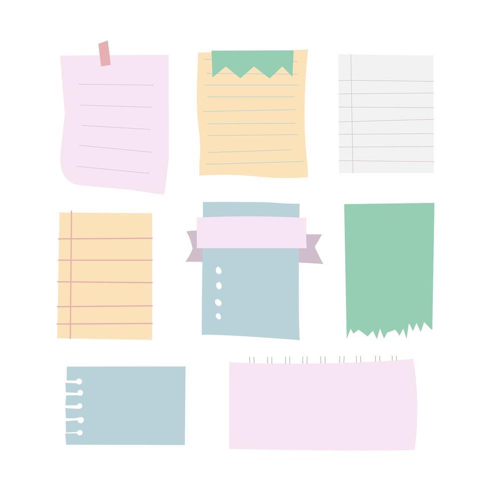 uppsättning olika anteckningar papper på transparent bakgrund. vektorelement vektor