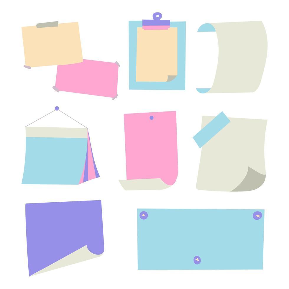 Notizpapierblätter in verschiedenen Farben vektor