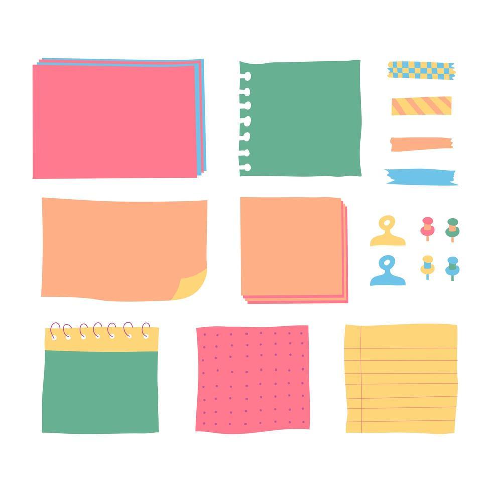 Copybook lineare Seiten Listen von Notebooks unterschiedlicher Größe. Papierfahnen mit Notizen, die mit klebrigem buntem Klebeband auf grauem Hintergrund befestigt wurden, isolierten realistische Vektorillustration. vektor