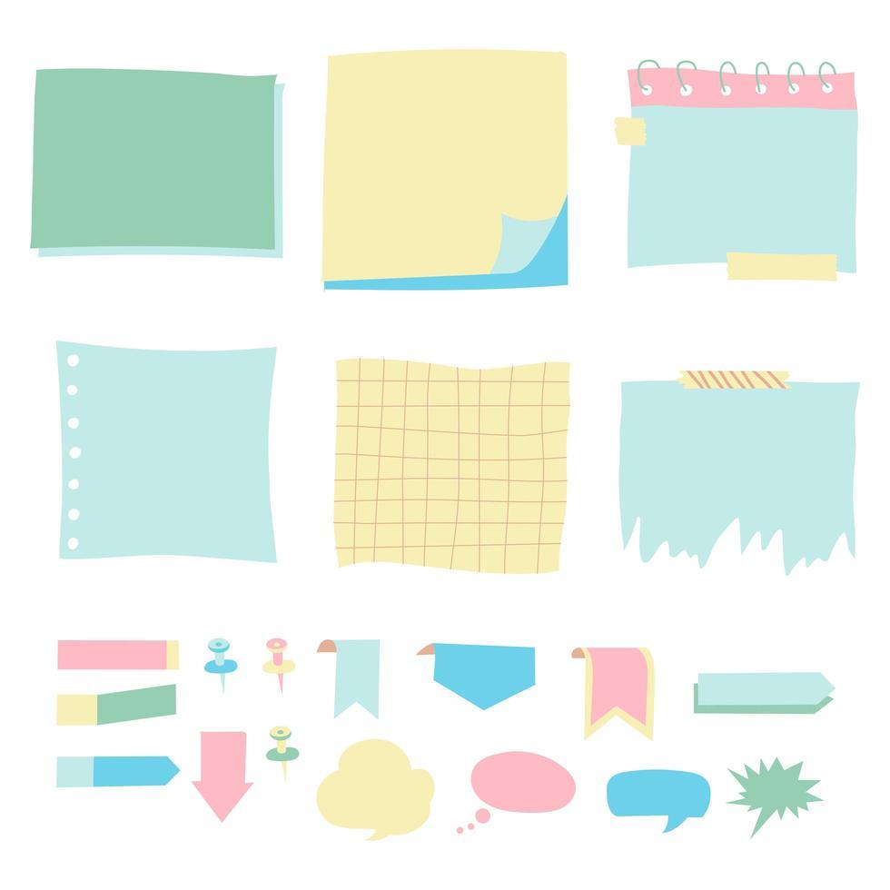 Satz von verschiedenen Farbblättern von Vektorpapieren Haftnotiz. vektor