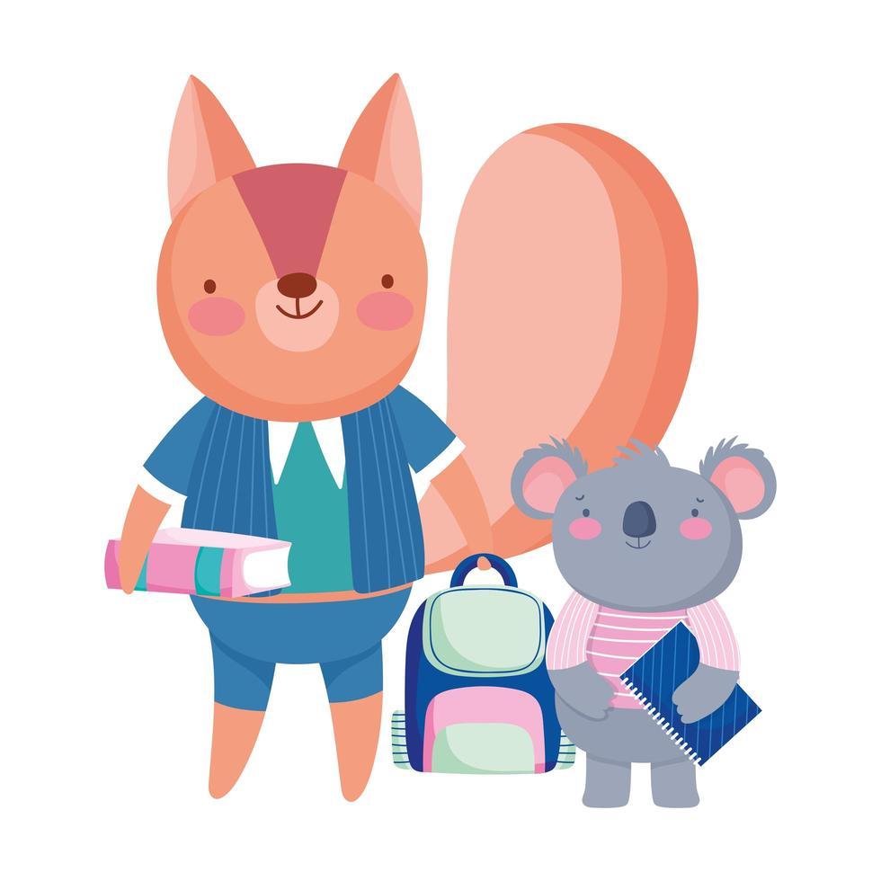 zurück in die Schule, Eichhörnchen Koala Tafel Rucksack und Buch vektor