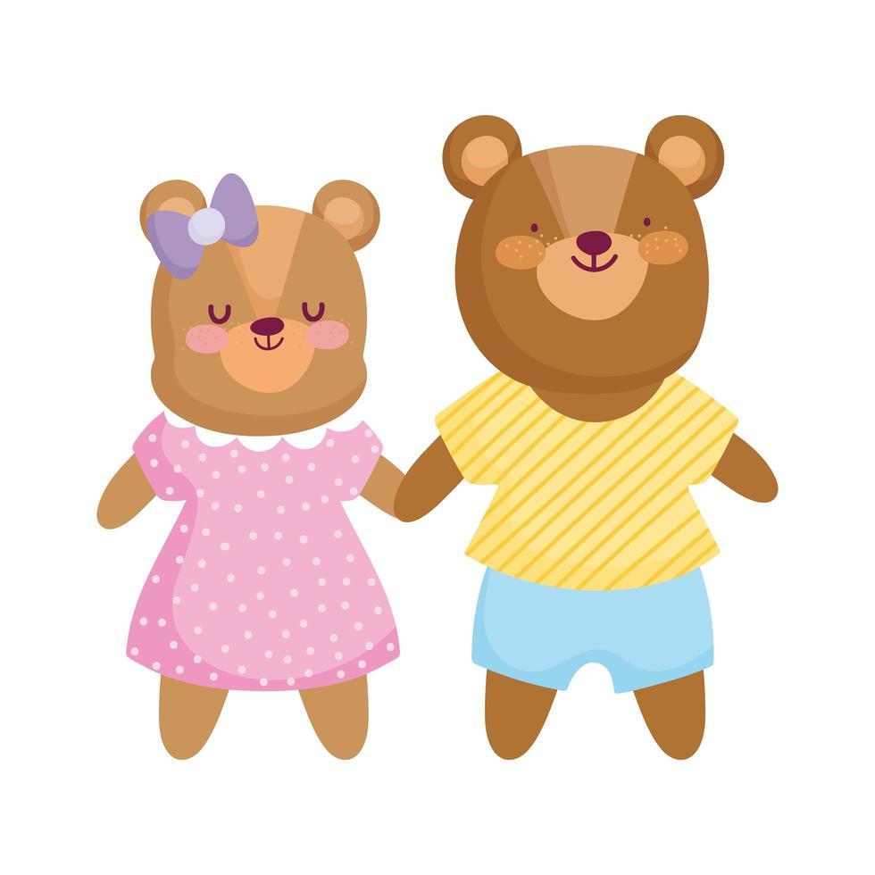 zurück zur Schule, niedliche Bärenkinder mit Kleiderkarikatur vektor