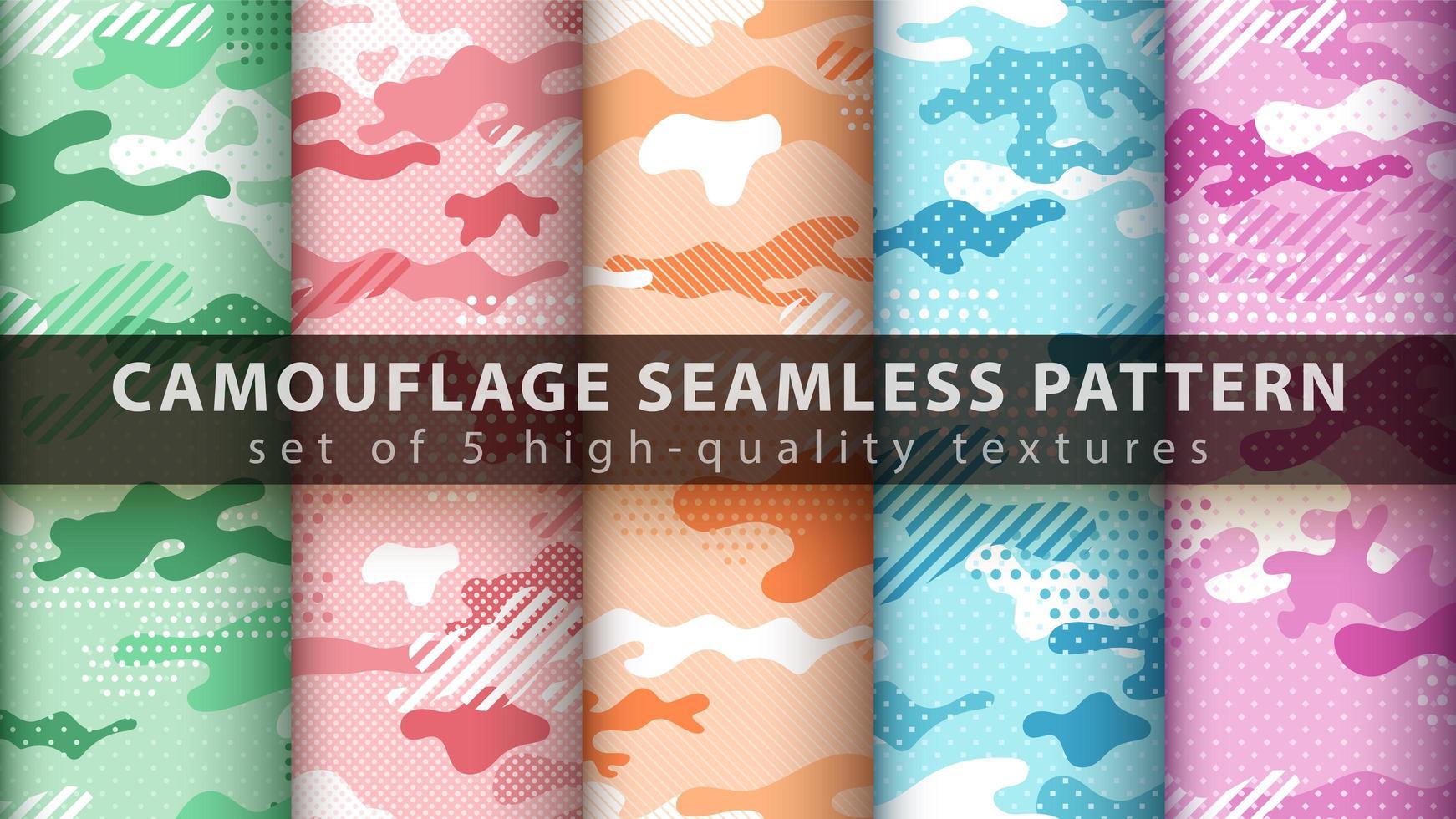 ställa in pixelkamouflage militär sömlös bakgrund vektor