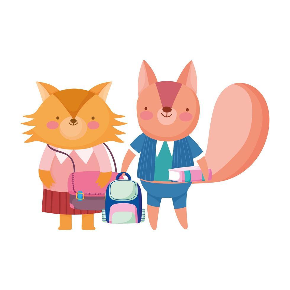 zurück in die Schule, Fuchs und Eichhörnchen Rucksack Buch Cartoon vektor
