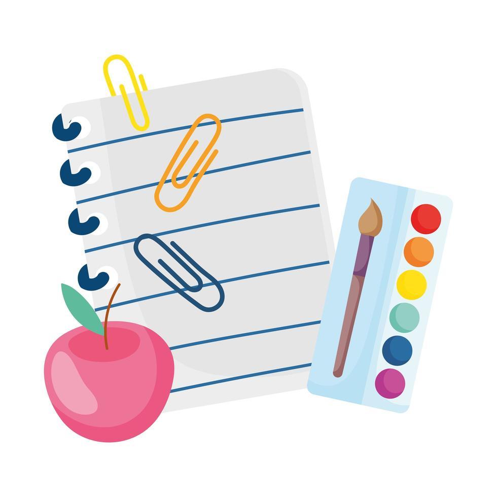 zurück zur Schule Papier Apfelclips und Palette Farbpinsel Cartoon vektor